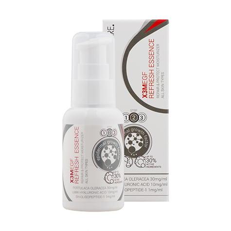 L'Essence anti-âge X3M EGF Refresh de chez Cliniccare est revitalisante et anti-âge pour une peau souple et hydratée en profondeur.